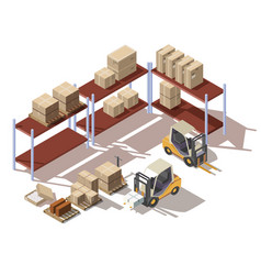 isometric interior warehouse with forklift vector image