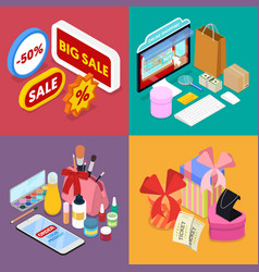 Isometric online shopping mobile payment vector