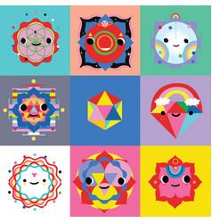 Kawaii style sacred characters vector