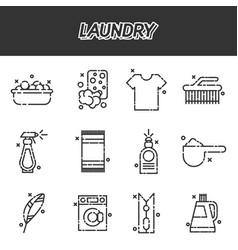 Laundry cartoon concept icons vector