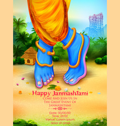 Lord krishna in happy janmashtami festival vector