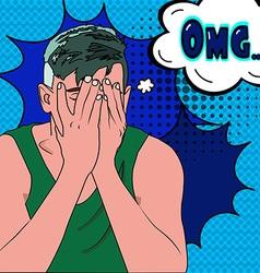 Man says omg pop art vector