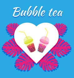 Milk tea with tapioca balls colored teas vector