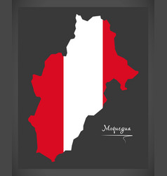Moquegua map with peruvian national flag vector