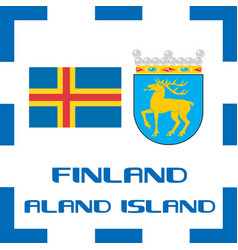 national ensigns flag and emblem of finland vector image