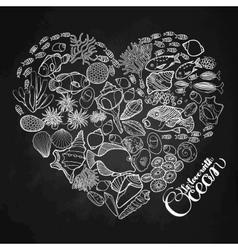 ocean life in shape heart vector image