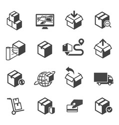 parcel delivery icon or symbol set vector image