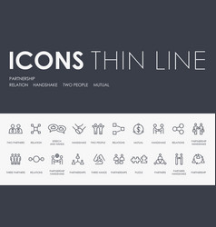 partnership thin line icons vector image
