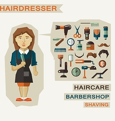 Profession of people Flat infographic Hairdresser vector