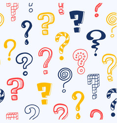 question mark pattern doodle seamless texture vector image