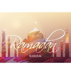 Ramadan KAREEM watercolor mosque vector image