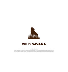 retro vintage howling wolf with grass savanna vector image