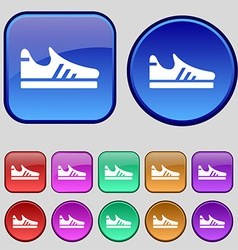 Running shoe icon sign A set of twelve vintage vector image