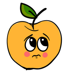sad yellow apple on white background vector image