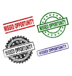 scratched textured missed opportunity stamp seals vector image