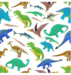 seamless pattern with dinosaurs prehistoric fish vector image