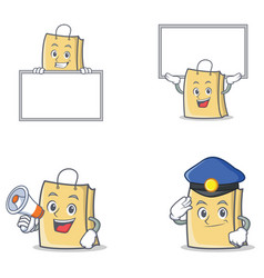 Set of bag character with board megaphone police vector
