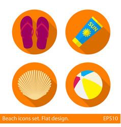 set of beach flat icons with long shadow on orange vector image