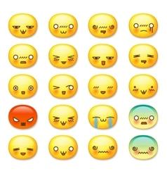 Set of cute smiley emoticons emoji vector