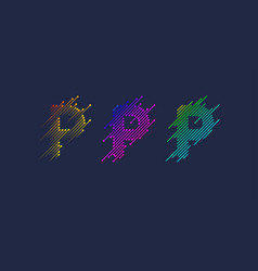 several variants one letter p latin vector image