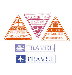 ship and airplane travel stamps in triangular and vector image