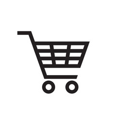 shopping cart - black icon on white background vector image