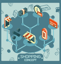 shopping color isometric concept icons vector image