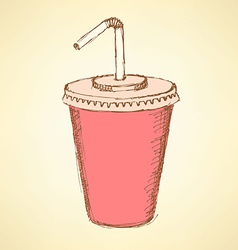 Sketch soda cup in vintage style vector image vector image