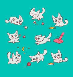 small white cats different emotions and situations vector image