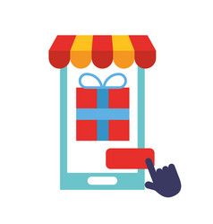 smartphone market clicking online shopping online vector image