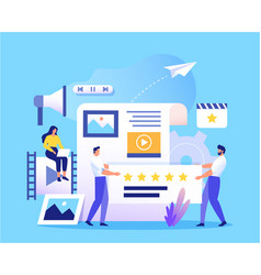 Smm content management and blogging concept in vector