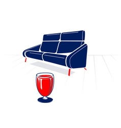 Soft sofa and glass vector