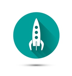 Spaceship icon on green background with shadow vector