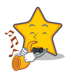 star character cartoon style with trumpet vector image