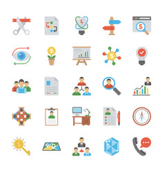 startup and new business flat icons set vector image