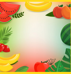 summer fruits and leaves background vector image