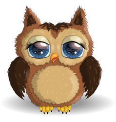 sweet fluffy shaggy owl-girl with long eyelashes vector image