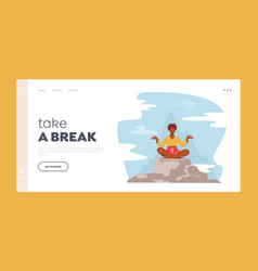 Take a break landing page template tranquil woman vector
