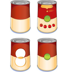 Template tin can tomato soup vector