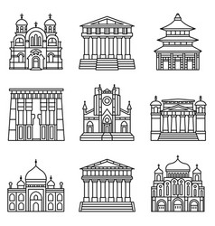 Temple icon set outline style vector