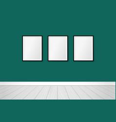 three modern frames on an emerald green wall vector image