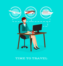 Time to travel concept flat vector