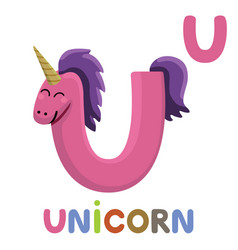 u is for unicorn letter u unicorn cute animal vector image