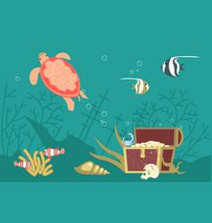 Underwater scene with pirate treasure vector