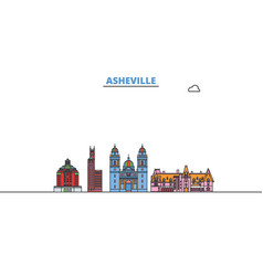 United states asheville line cityscape flat vector
