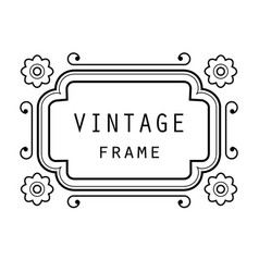 vintage grayscale frame in a lineart style vector image