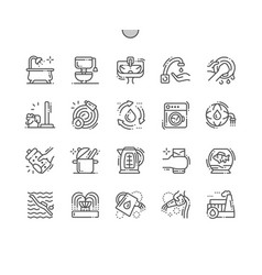 Water consumption thin line icons vector