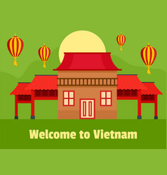 Welcome vietnam background flat style vector