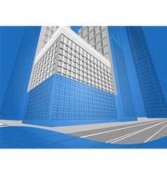 Wireframe urban city on a blue background vector image