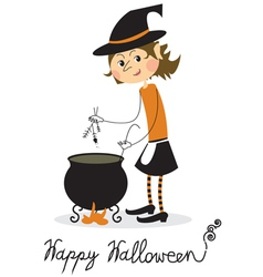 Witch and cauldron vector